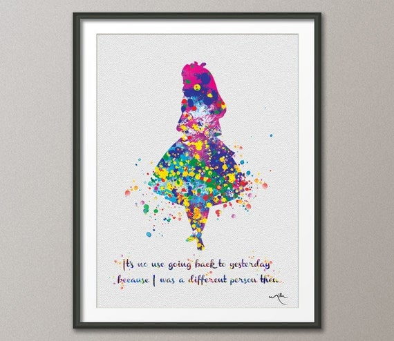 Alice In Wonderland Wall Art alice in wonderland alice in wonderland quote watercolor