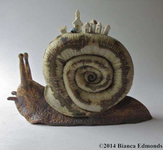A Driving Holiday in the English Countryside, high-fire stoneware and porcelain snail sculpture