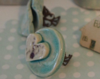 """Ring """"Love me"""" - B Happy ceramics collection by uooops!(R) - statement ring - Gift - one of a kind ring"""