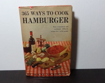 "Clearance - Vintage Cookbook ""365 Ways To Cook Hamburgers"", by Doyne Nickerson 1960"
