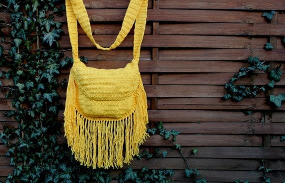 Crochet Fringe Bag : BOHO FRINGE BAG, Crochet Fringe Bag, Festival Bag, boho style bag ...