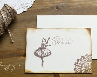 Thanksgiving cards with ballerina-6 pieces
