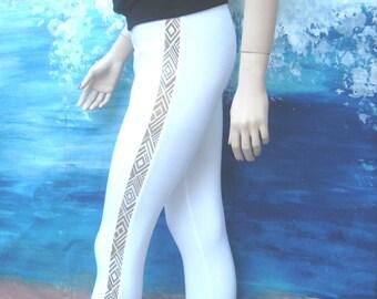 White leggings with gold stripe, black leggings,  capris,  stretch pants, yoga pants, stretch leggings, summer, women, beach, fashion.