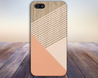 Peach Champagne Pink Striped Wood Phone Case,iPhone X, iPhone 7 Plus, Tough iPhone Case, Galaxy s8, Samsung Galaxy Case, Note 8, CASE ESCAPE