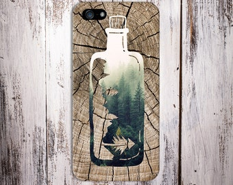 Forest Bottle x Tree Stump Wood Design Case for iPhone 6 6 Plus iPhone 7  Samsung Galaxy s8 edge s6 and Note 5  S8 Plus Phone Case
