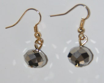 dangling earrings, plated gold with Swarovski Crystal