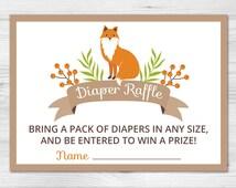 Woodland Diaper Raffle Ticket - Printable Diaper Raffle Card: fox, forest, orange, white, berry, green, brown