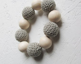 Teething Toy, gray Breastfeeding Crochet toy, wooden baby toy, gift for baby girl, Teething toy with crochet beads