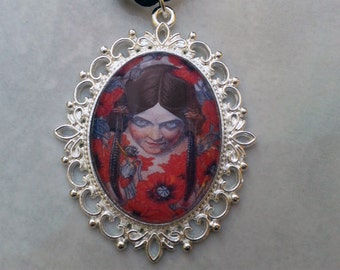 "Art nouveau pendant necklace, ""Les Fleurs du Mal"" illustration, goth pendant, choker length, girl with poppies, silver plated; UK seller"