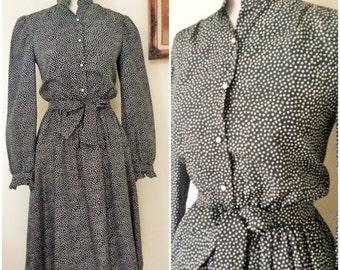 Vintage 1980's Polkadot Dress / Black and White Polkadot / 80s Day Dress / 1980s Casual