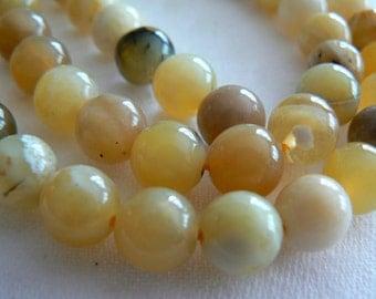 Yellow opal gemstone round 8mm beads. Strand 4in .Gemstone supply. Jewelry beads supply. Yellow opal