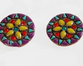 Vintage Clip On Earrings Aztec and Mexican Art Design