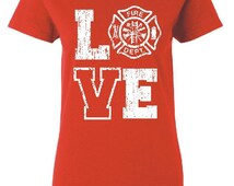 Firefighter Shirt Firefighter Girlfriend Fire Emblem Firefighter Wife Firefighter Gift Firefighter Wedding Vintage Firefighter Love Maltese