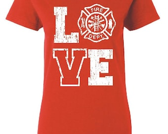 Firefighter Wife Shirt Firefighter Girlfriend Fire Emblem Firefighter Gift Firefighter Wedding Maltese Cross Shirt Firefighter Wife Gifts