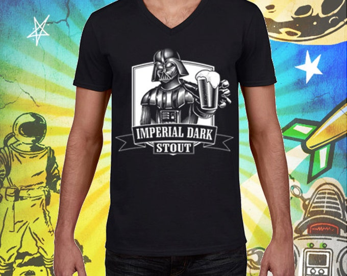 Darth Vader Men's V-Neck 100% Cotton Black Imperial Dark Stout Men's Craft Beer T Shirt Star Wars Beer Tshirt