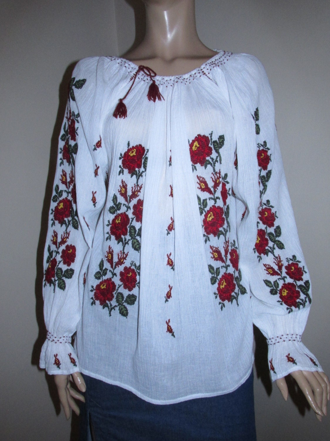 Hand embroidered romanian blouse with burgundy by realromania
