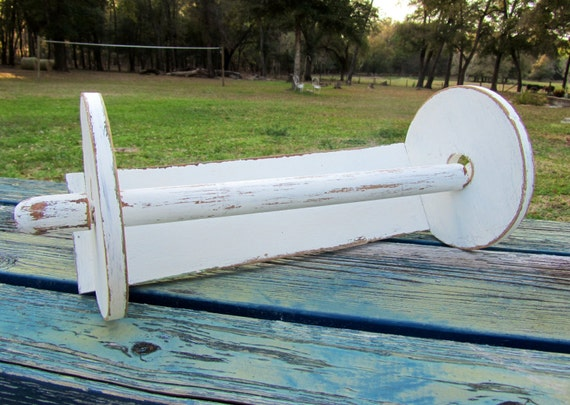 Vintage antique white shabby chic wood paper towel holder for Shabby chic towel stand