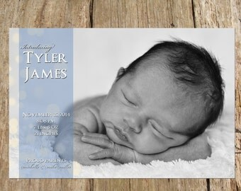 Baby Boy or Girl Photo Birth Announcement, Bokeh Design, DIY Printable file