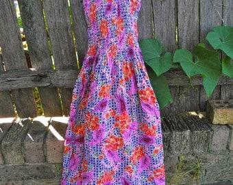 Vintage 1970s Paisley/Floral Cotton Maxi Dress