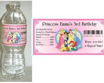 20 DISNEY PRINCESS BIRTHDAY party water bottle labels ~  glossy ~ waterproof ink