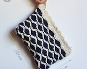 Clutch crochet bag white and blue made in cotton, fabric covered. Personal listing