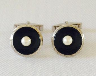 Vintage Sterling Silver Black Onyx and Akoya Pearl Cuff Links - Groom, Groomsmen, Gift, Formal Tuxedo Black Tie Wedding