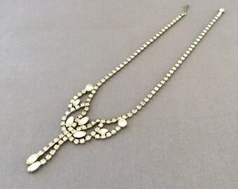 Vintage Festoon Rhinestone Necklace Faux Diamonds Silver Tone Metal, - Wedding, Bridal, Mother of the Bride, Bridesmaid, Engagement