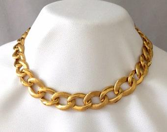 Napier Chain Link Necklace Vintage Gold Tone Choker- Collar Necklace- Wedding, Mother of the Bride, Engagement, Gift, Designer Signed