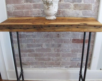 Hallway Console Table with Iron Pipe Legs and Thick Wood Top