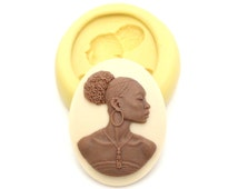 Woman Cameo Mold Mould Resin Clay Fondant Wax Soap Fimo Cabochon Flexible Silicone Mold