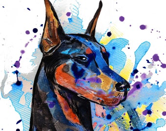 Doberman Pet Portrait , custom pet portrait, original watercolor painting, pet  portrait watercolor painting, custom portrait, dog painting