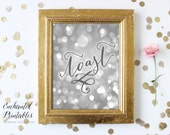 Glamorous Silver Wedding Decor, New Years Eve Decorations, Party Decor, Silver Bokeh, Calligraphy Print, Printable Wall Art