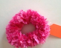 Hot pink scrunchie, ponytail or bun cover. Fun fur hand crotched fuzzy and fun