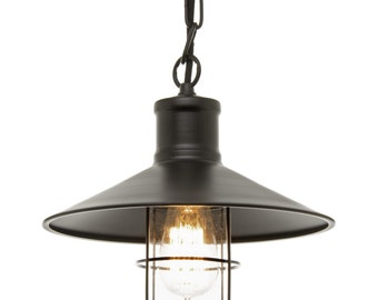 Vintage Cage and Glass Dome Pendant Light
