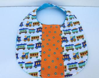 Baby boy bib - Polka dot train bib - Minky baby bib - Cotton baby bib
