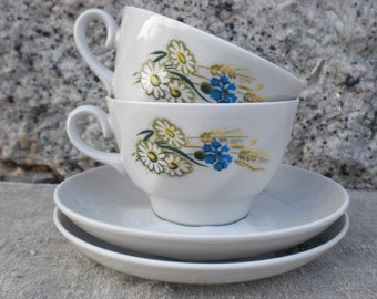 set of 2 country style tea cup saucer white teacup demitasse rustic ornament flowers soviet USSR vintage Latvia Riga Porcelain Factory china
