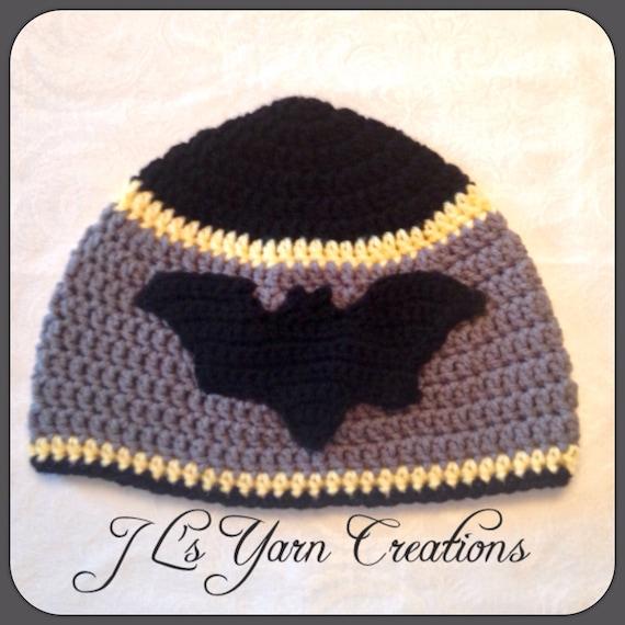 Free Crochet Patterns For Batman Hats : Crocheted Batman Hat by JLsYarnCreations on Etsy