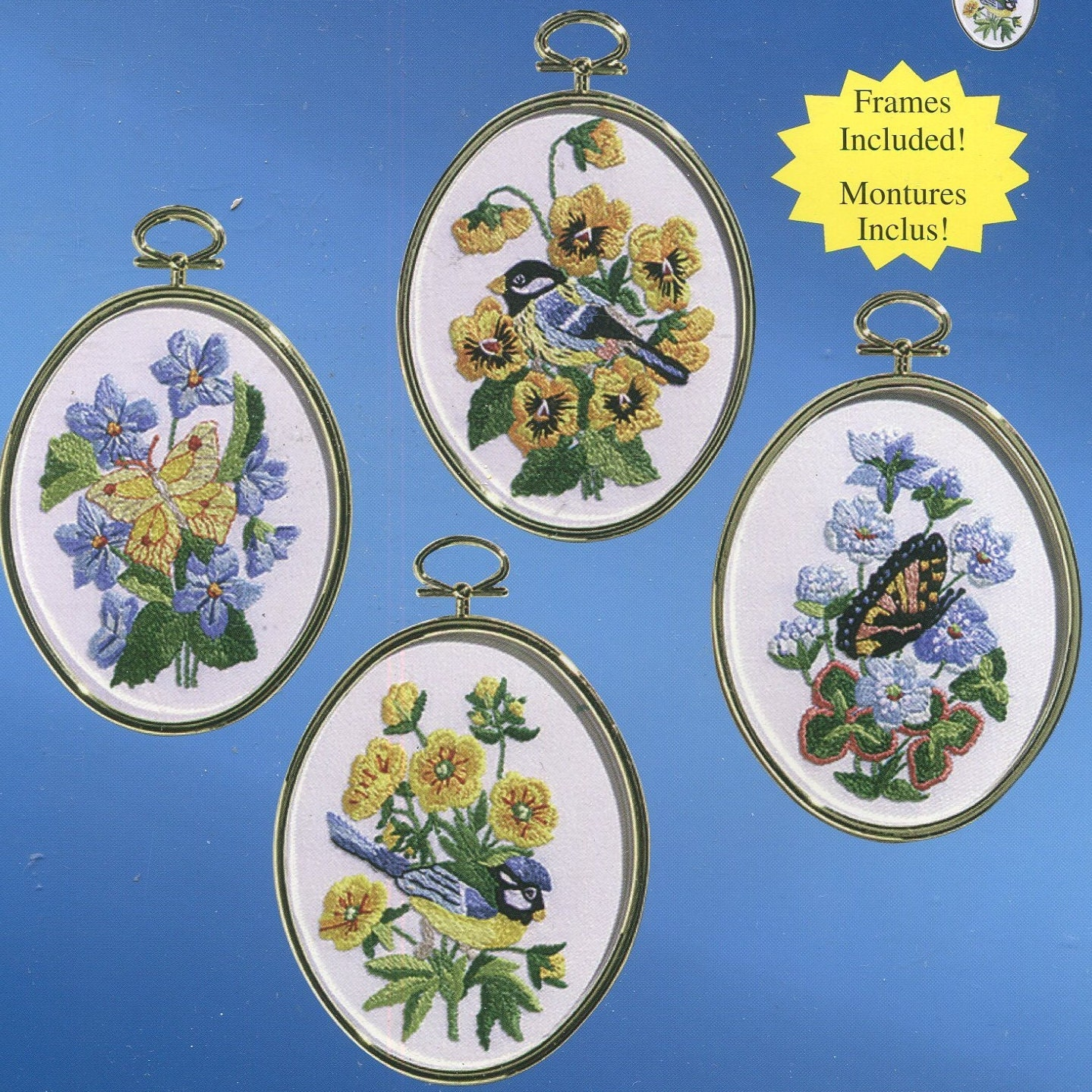 Birds and butterflies crewel embroidery kit x