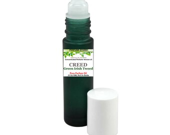 Custom Blend Perfume Oil with similar Base Notes & Perfume Accords to Creed Green Irish Tweed. Packaged in a 10ml Green Glass Roller Bottle