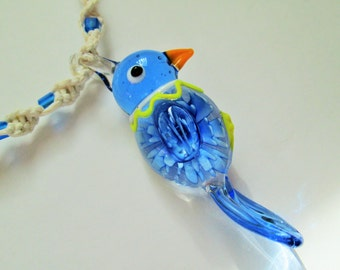 Parrot - Handmade White Hemp Twist Necklace with Beautiful Blue Glass Parrot Pendant - Hippie Boho Chic Jewelry