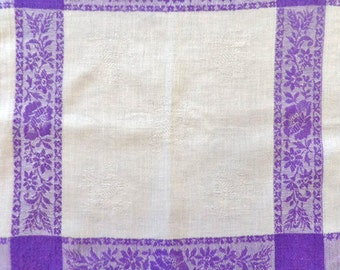 Small vintage tablecloth violet