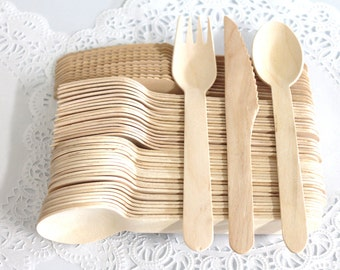 "Heavy Weight 75 Disposable Wooden Utensils 25 forks 25 spoons 25 knives birthday party weddings ""Same Day Shipping"""