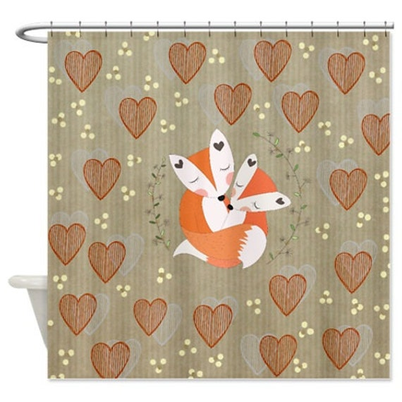 Fox Shower Curtains Fox Couple Country Hearts By FolkandFunky