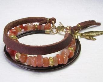 Natural Red Aventurine & Carnelian Leather Bracelet