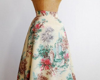 1940's rayon/acetate toile skirt