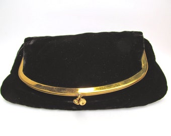 1950's Mel-Ton Black Velvet Evening Fold Over Clutch with Gold Clasp