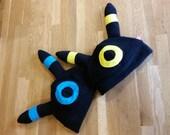 Pokemon Umbreon inspired fleece cosplay hat with ears (Shiny and regular!)