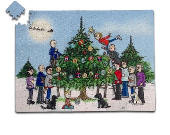 Christmas Mini You Tree- Print AND Jigsaw Combo- Custom Family Cartoon Portrait Gifts