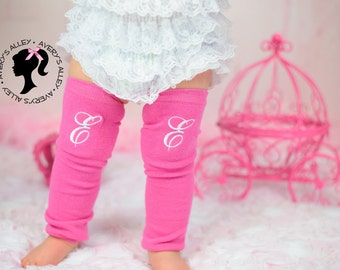 Girls Personalized Hot Pink  Leg Warmers with White Initial Monogram
