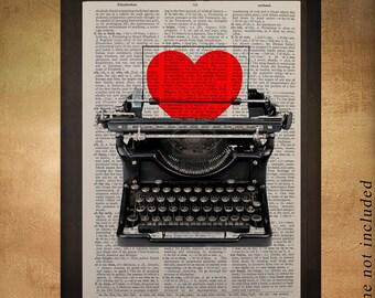 Typewriter Dictionary Art Print Heart Valentines Day Love Romance Wall Art Home Decor Gift Ideas Romantic da627